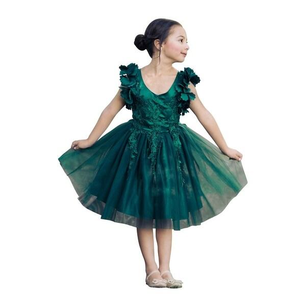 9d26f9583 Shop Just Couture Little Girls Green Petal Sleeve Satin Lace Flower ...
