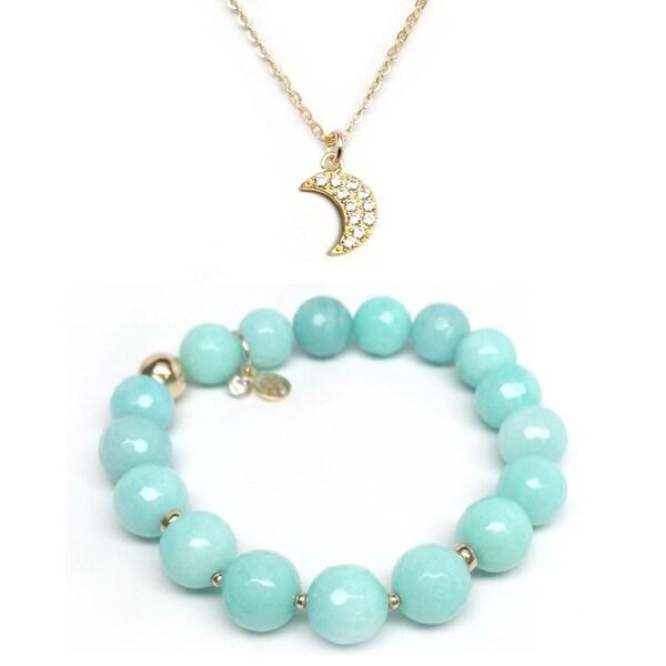 Aqua Quartz Bracelet & CZ Moon Gold Charm Necklace Set