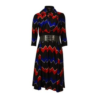 Signature Women's Belted Chevron Knit Dress w/Scarf - ps