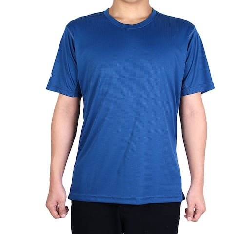 Men Polyester Short Sleeve Clothes Casual Tee Golf Sports T-shirt Navy Blue XL