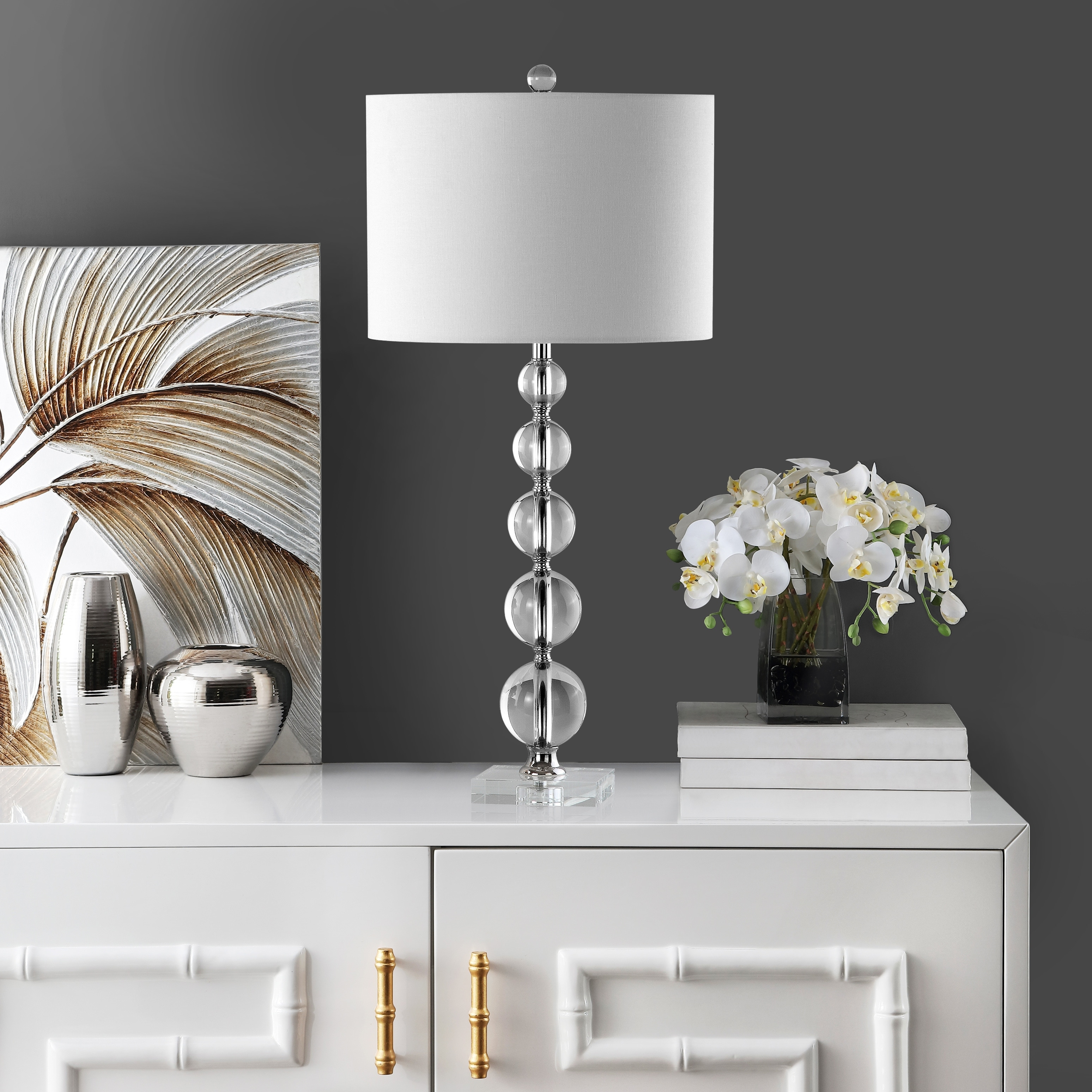 Safavieh Lighting 29 Inch Liam White Shade Stacked Crystal Ball Table Lamp 14 X14 X29 On Sale Overstock 8353200