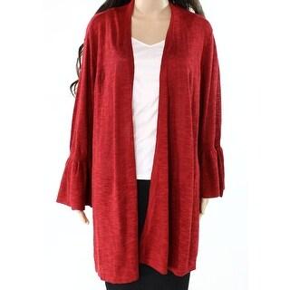 Alfani Wine Red Womens Size XL Bell-Sleeve Flyaway Cardigan Sweater
