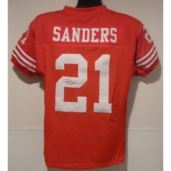 online store 86a43 ee4b7 Deion Sanders Autographed Red Size XL San Francisco 49ers Jersey