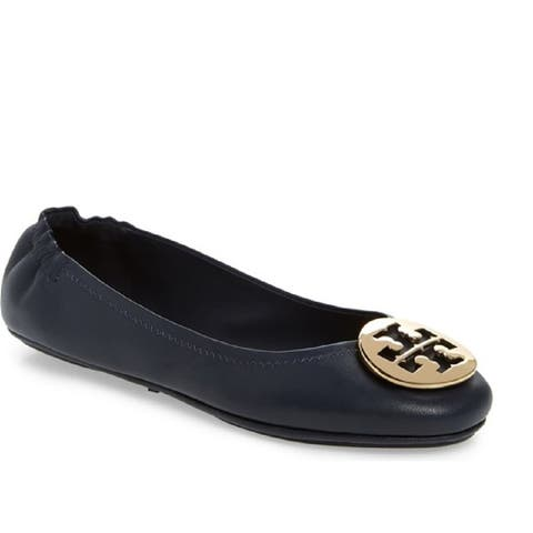 Tory Burch Womens Navy Minnie Ballet Flats