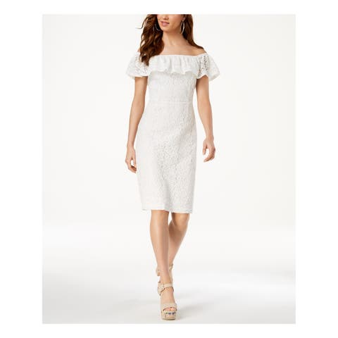 XOXO Womens White Ruffled Lace Off Shoulder Above The Knee Sheath Formal Dress Juniors Size: S