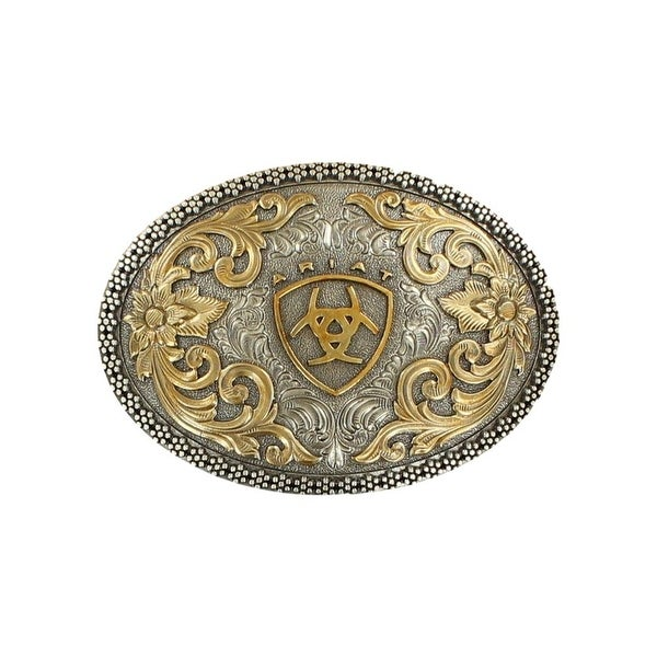 Ariat Western Belt Buckle Oval Filigree Berry Edge Silver Gold - 3 3/4 x 2 3/4