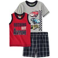 Al & Ray Boys 2T-4T Race Car Short Set 3-Piece - Red