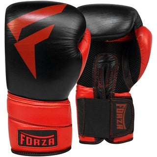 Forza MMA Pro Leather Boxing Gloves - Black/Red