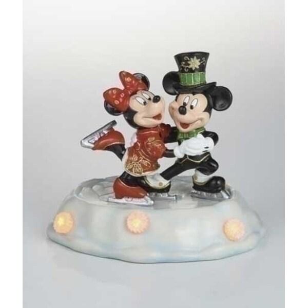 Lighted Cloisonne Mickey & Minnie Skating Christmas Figure - multi