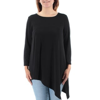 ALFANI $60 Womens New 1268 Black Long Sleeve Jewel Neck Tunic Casual Top S B+B