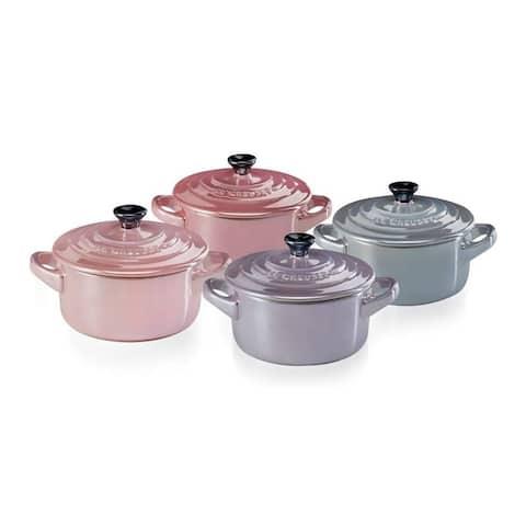 Le Creuset Mini Cocottes Set of 4, Stoneware, 8 oz, Metallics Rose