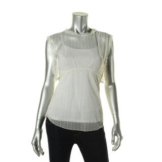 Free People Womens Mesh Ruffled Pullover Top