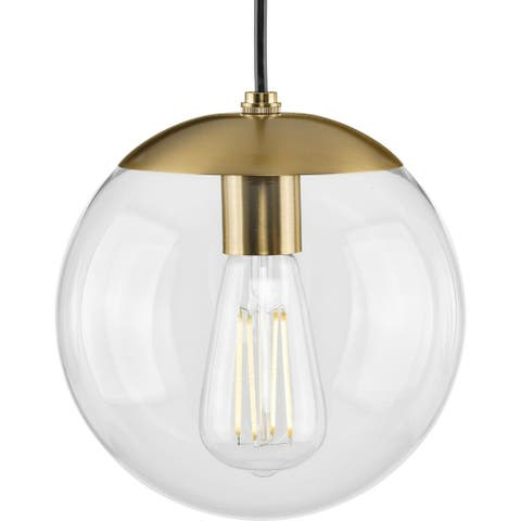 Atwell Collection 1-Light Clear Glass Brushed Bronze Small Pendant - 8 in x 8 in x 8.75 in