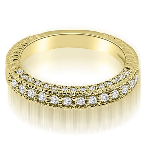 0.46 cttw. 14K Yellow Gold Antique Style Round Cut Diamond Wedding Ring