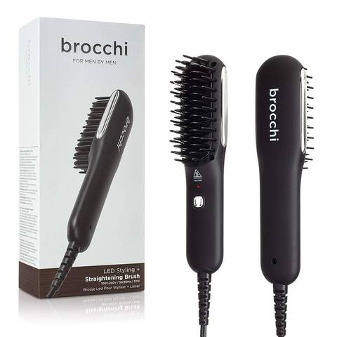 Brocchi For Men by Men Premium Quality Professional LED Styling and Hair Straightening Brush