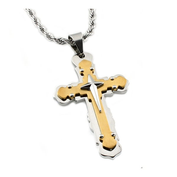 Stainless Steel Broad Two-Tone Cross Pendant