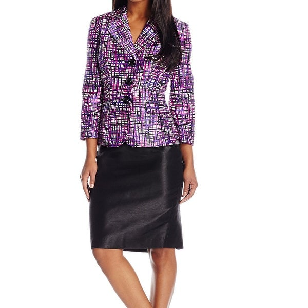 a6f579f90800b Shop Le Suit Orchid Purple Women Size 4 Three-Button Printed Skirt ...