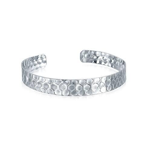 Hammered Matte Flat Honeycomb Bangle Cuff Bracelet 925 Sterling Silver - 7.5