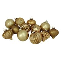 "12-Piece Gold Distressed Finish Glass Ornament Set 4"" (100mm)"
