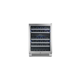 """Avallon AWC241DZRH 24"""" Wide 46 Bottle Capacity Dual Zone Wine Cooler with Right Swing Door - Stainless Steel - N/A"""