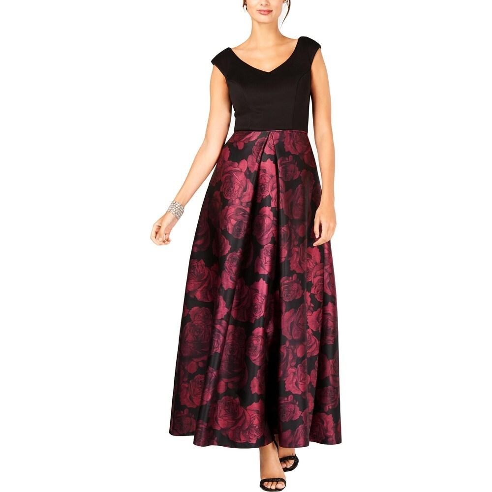 SLNY Womens Evening Dress Floral Print V-Neck