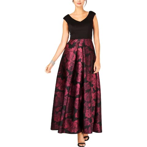 SLNY Womens Evening Dress Floral Print V-Neck