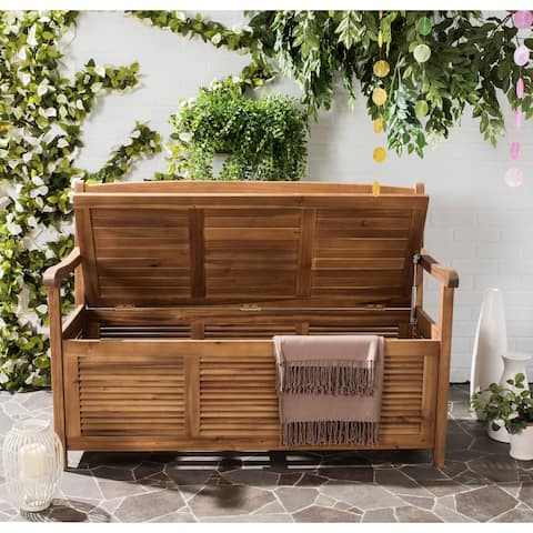 "Safavieh Outdoor Living Brisbane Brown Storage Bench - 50""x24""x35.2"""