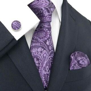 New Men's Purple Paisley 100% Neck Tie Set With Hanky 18543