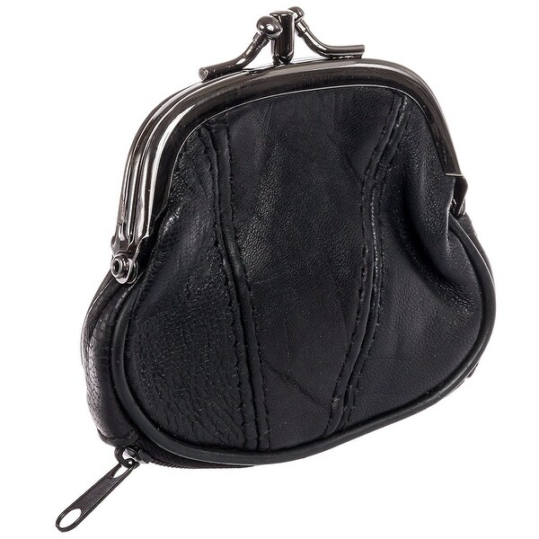 Marshal Womens Leather Kiss Lock Coin Purse (Black) - Black