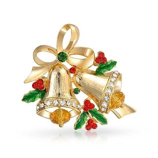 Bling Jewelry Christmas Bells Bow Ribbon Brooch Pin Crystal Gold Plated