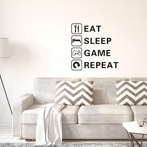 Letter Eat Sleep Game Repeat Wall Sticker for Living Room Bedroom