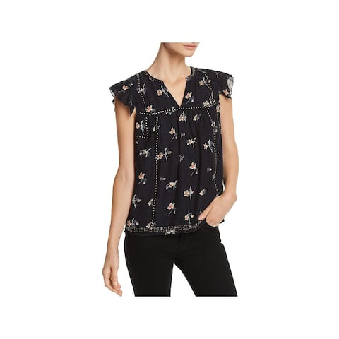 Joie Womens Blouse Studded Ruffled