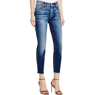 7 For All Mankind Womens Ankle Jeans Skinny Raw Hem