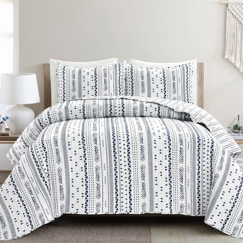 Lush Decor Hygge Stripe 3 Piece Quilt Set