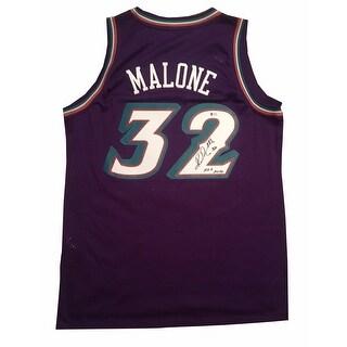 Karl Malone Autographed Utah Jazz Signed Hall of Fame HOF Swingman Basketball Jersey Beckett BAS CO