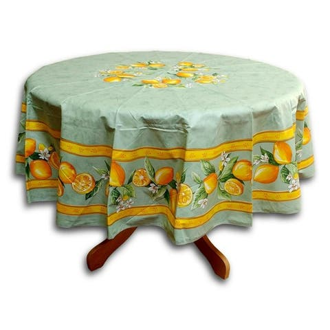 French Provencal Acrylic Coated Cotton Rectangular Tablecloth Round - Yellow Sunflower - Salmon Peach Poppy - Off White Roses