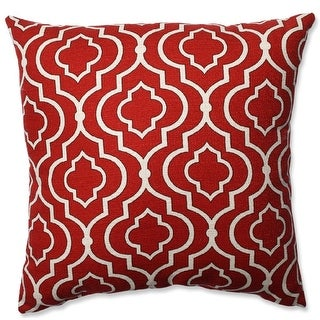 """16.5"""" Brick Red and White Lucky One Square Decorative Throw Pillow"""