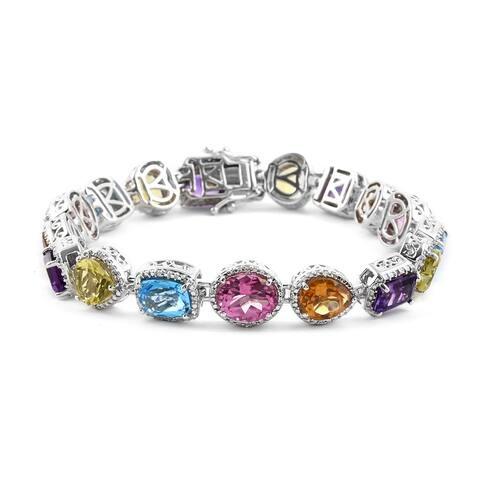 925 Silver Pink Mystic Topaz Blue Topaz Bracelet Size 8 In Ct 35.8 - Bracelet 8''