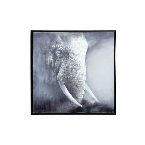 "Large Square Framed Gray and White Acrylic Elephant Painting 39.5"" x 39.5"""