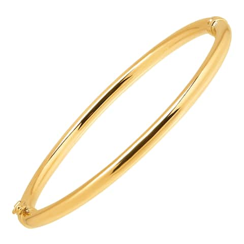 Eternity Gold Polished Hinged Bangle in 10K Gold - Yellow