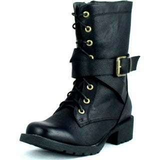 Dbdk Womens Margin-1 Military Side Zipper Lace Up Combact Riding Mid-Calf Boot