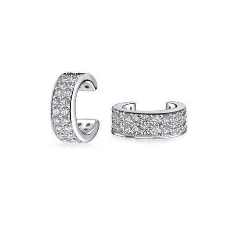 fa6f72d96 Minimalist Cubic Zirconia Pave CZ Band Cartilage Ear Cuffs Clip Wrap Helix  Earrings For Women 925