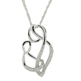Mother and Child Pendant and Necklace Set 18inch 1/10cttw Diamonds in Silver(i2/i3, I/j)