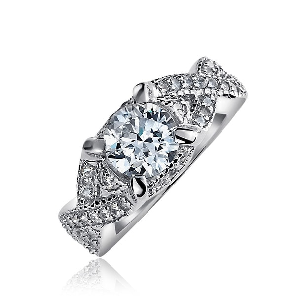 2e3bcdba3 2 CT Round Brilliant Solitaire Cut AAA CZ Engagement Ring Thin Criss Cross  Twist Infinity Band