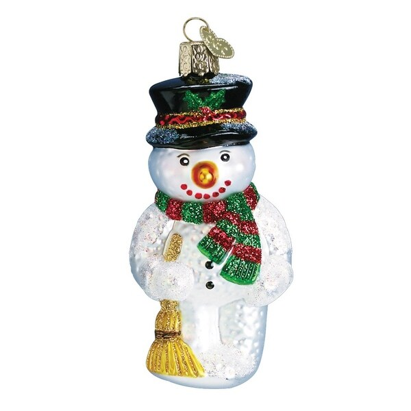 """3.75"""" Old World Christmas Snowman with Broom Glass Ornament #24013"""