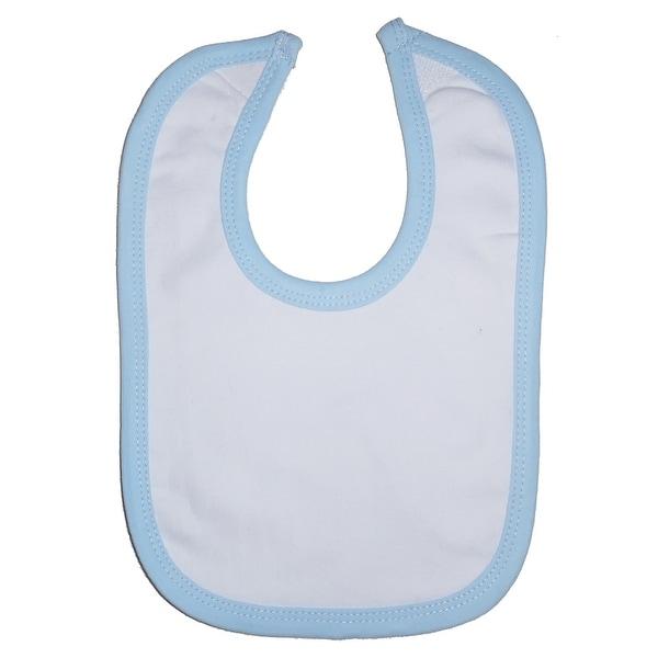 White Interlock Bib Blue Binding - Size - One Size - Boy