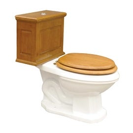 Elongated Toilet with Light Oak Wood Tank and White Bowl