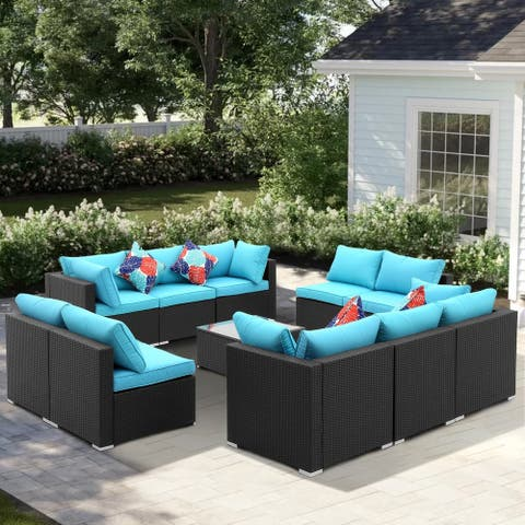 Zenova 11 Pcs Rattan Sofa Sectional Set
