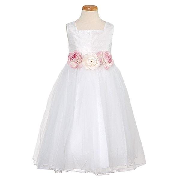 797c74d46 Shop Kids Dream Big White Silk Tulle Flower Girl Easter Dress 8-12 ...