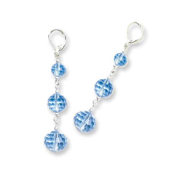 Silvertone Blue Crystal Dangle Post Earrings